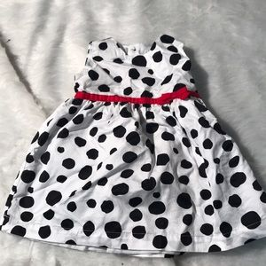 Infant White & Black Polka Dot Dress